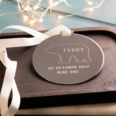 Personalised Baby Polar Bear Christmas Disc Decoration