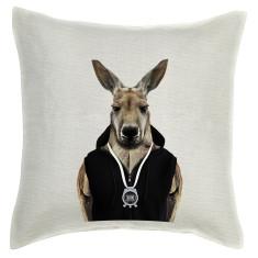 Kangaroo linen cushion cover
