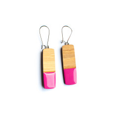 Straight pillar bamboo and resin dangly earrings - various colours