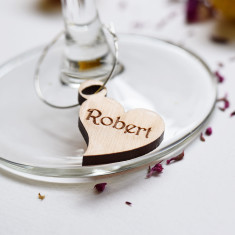 Personalised Heart Wine Glass Charms (set of 6)