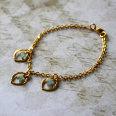 Gold vermeil marquis charm bracelet