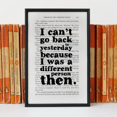 Alice in Wonderland - I can't go back to yesterday book page print