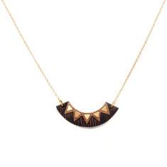 Brass inlay chevron necklace