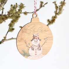 Personalised Christmas Tree bauble shaped ornament - Snowman