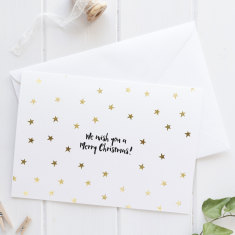 Gold Foil Christmas Stars Greeting Card
