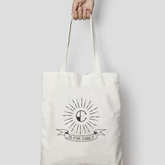 Monogram Tote Bag Canvas or Black, Tattoo style Tote