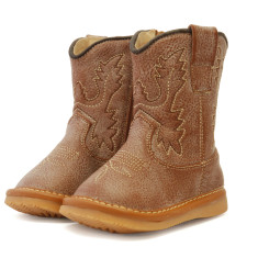 Distressed Leather Cowboy Squeaky Boots for Toddlers