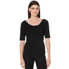 Black 3/4 sleeve reversible top in black