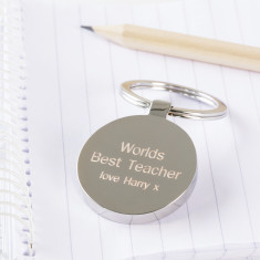 Personalised world's best teacher keyring