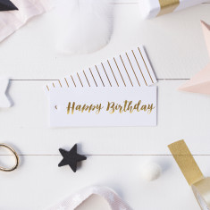 Gold foil Happy Birthday gift tags (set of 6)