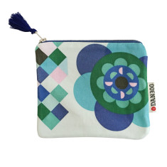 Flower & cobalt blue wallpaper leather mini zip case