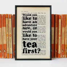 Peter Pan tea and adventure quote - book page print