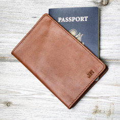 Personalised Leather Passport Cover in Vintage Brown