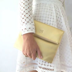 Caviette Gold Nappa Leather Fold Over Clutch