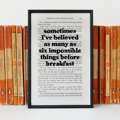 Alice in Wonderland Six Impossible Things -  book page print