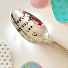 Hand-stamped you're my cup of tea vintage teaspoon