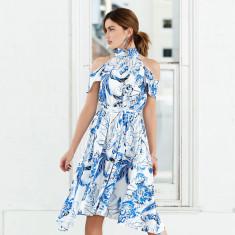 Bella donna high neck cut out shoulder hi-lo dress
