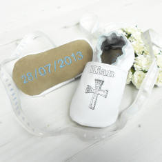 Personalised cross christening shoes