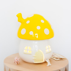 Kid's mushroom night light in yellow