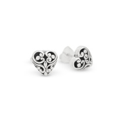 Sterling Silver Filigree Heart Stud Earrings