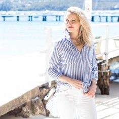 Lucia- Italian Linen Blue Stripe Tunic Shirt