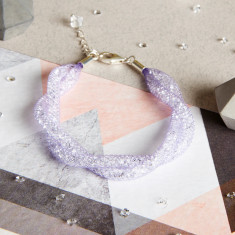 Entwined Twist - Twisted Tubes Crystal Lilac Mesh Bracelet