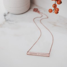 Nameplate necklace 18k rose gold vermeil