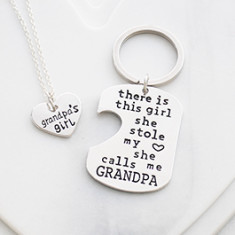 Grandpa's girl necklace and key ring gift set