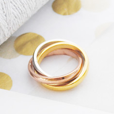 Forever yours triple tone ring in rose gold, gold and silver