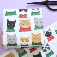 Christmas Cat Wrapping Paper (Two Sheets)