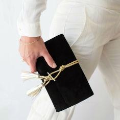 Marni Black Suede & Braided Leather Clutch