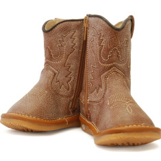 Light Brown Leather Cowboy Squeaky Boots for Toddlers
