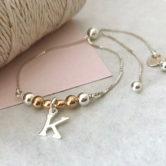 Personalised sterling silver initial sliding friendship bracelet