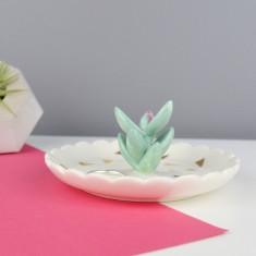 Cactus Ceramic Ring Dish & Holder
