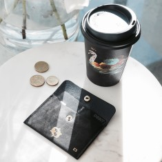 Zodiac and initials personalised leather card and coin wallet