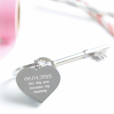 Personalised Day You Became My Mummy Heart Keyring