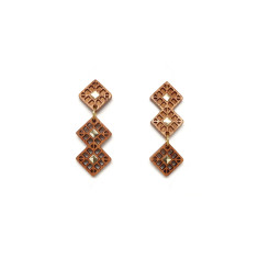 Asymmetrical overlay square post earrings