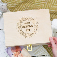 Personalised Starburst Christening Keepsake Box