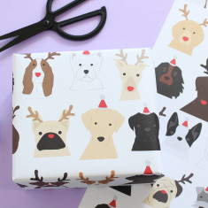 Christmas Dog - antlers and santa hat Wrapping Paper (Two Sheets)