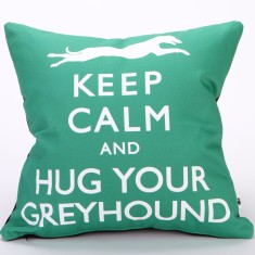 Keep calm & hug your greyhound cushion cover