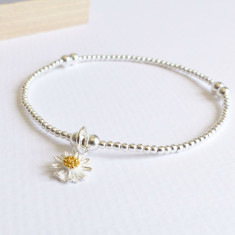 Sterling silver beaded daisy bracelet