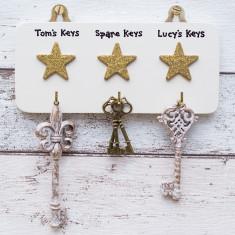 Triple Gold Star Personalised Key Hook Hanger