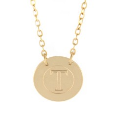 Yellow gold disc with circle and initials engraving
