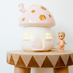 Kid's mushroom night light in pink & gold