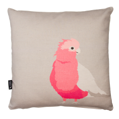 Galah cushion in grey and pink