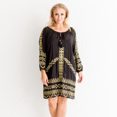 Embroidered Mexico Black/Gold Dress