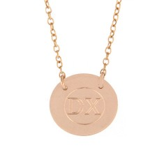 Engraved rose gold initial disc with chain