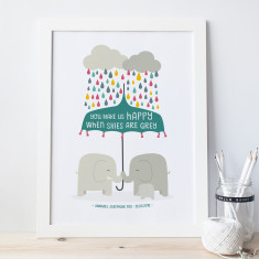 You make us happy elephant nursery print