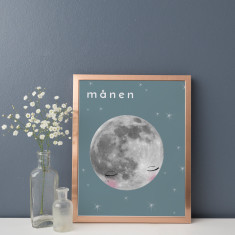 Månen Moon Illustration Fine Art Nursery Print