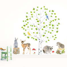 Woodland Animals and Tree Wall Stickers (Medium)